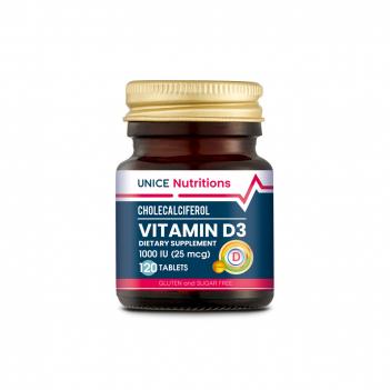 4743041 Unice Nutritions D Vitamini İçeren Takviye Edici Gıda, 120 Tablet
